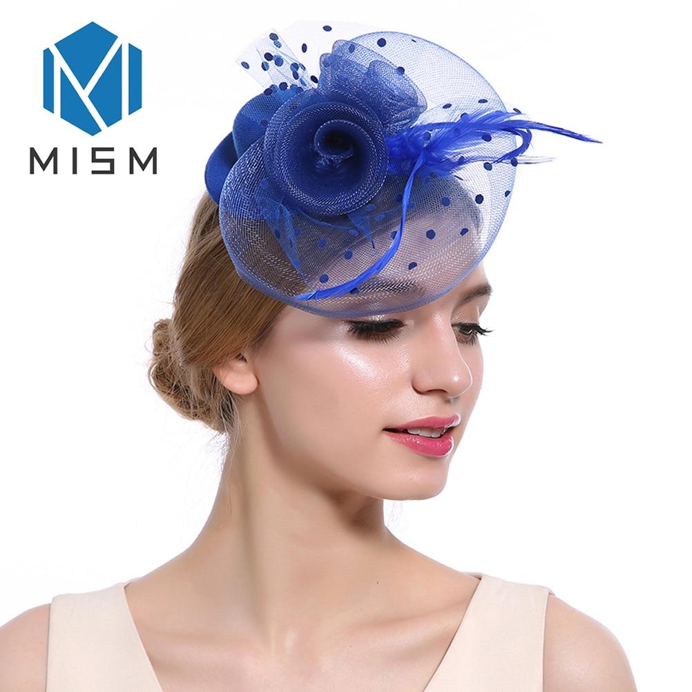 M MISM tocado de boda para mujer sombrero Clip de pelo malla de tul punto pluma pelo bandas de aro accesorios Retro elegante Caimán Headwear