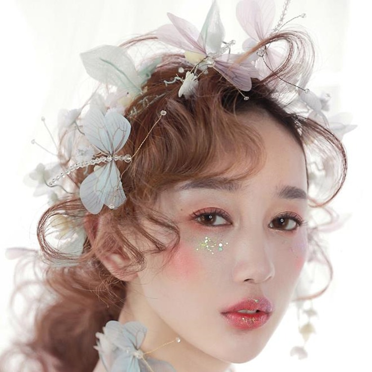 Luz branca roxo borboleta headbands mulheres acessórios do casamento cocar de Noiva o novo libélula hairband