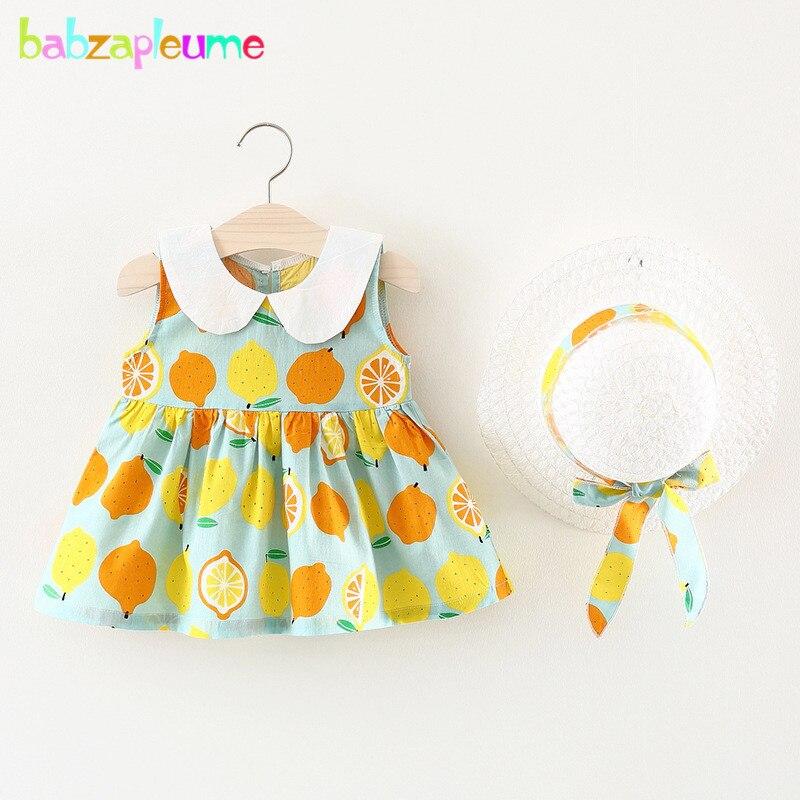 Babzapleume/комплект из 2 предметов; платье для маленьких девочек + шляпа; Новинка 2018 года; летняя детская одежда; Хлопковые Платья принцессы для н...