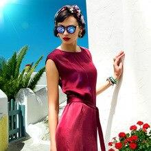 여름 새 패턴 높은 아카이브 기질 모래 씻어 무거운 진짜 실크 새틴 멀 베리 실크 Chalaza 얇은 드레스 Longuette