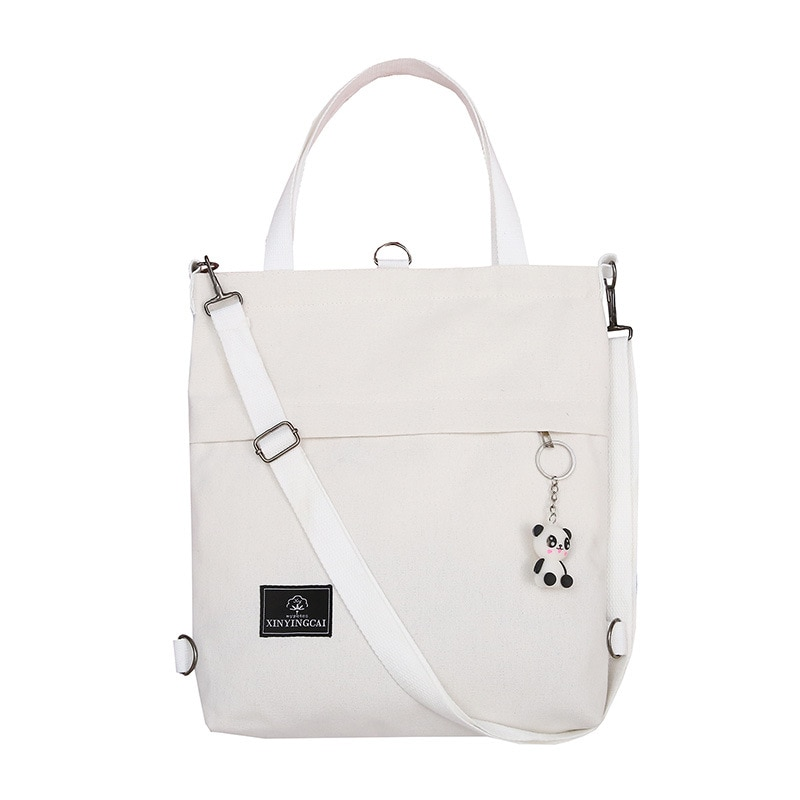 Bolso de hombro Casual para mujer, bolso de compras plegable, bolso de playa, bolso de tela de algodón para mujer, con colgante de Panda