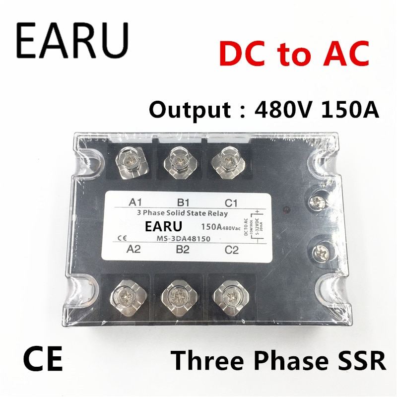 TSR-150DA SSR-150DA tres fases relé de estado sólido DC 5-32 V Control de entrada AC 90-480 V salida carga 150A 3 fases SSR potencia DA48150