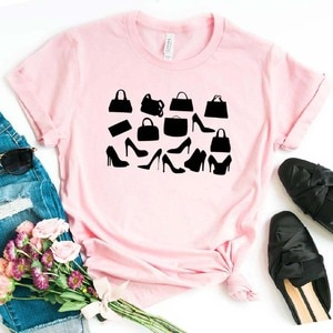 High Heel Shoes bags Women tshirt Cotton Casual Funny t shirt Gift For Lady Yong Girl Top Tee 6 Color Drop Ship S-797