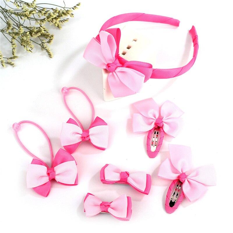 1set=7pcs Children Accessories Hairband Hairpins Beautifully Hair Baby Girls Lovely Bow Headwear Hair clip Headband 6C3056