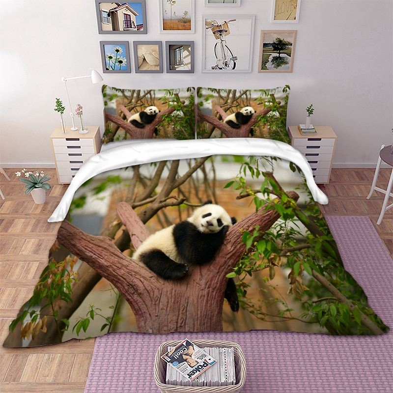Комплект постельного белья с милым рисунком панды для одеяла, пододеяльник, набор с наволочками, один двойной комплект из 3 предметов, посте...