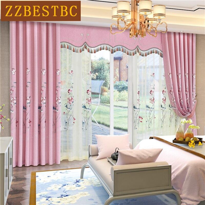 Chino de lujo lotus bordado de algodón y lino Rosa cortinas para sala de estar de alta calidad Viole cortina para dormitorio hotel