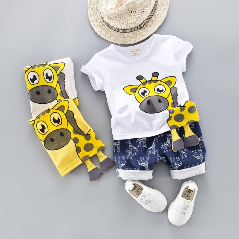 2019 Summer Baby Boy Clothing Girls Short-Sleeved Cartoon Giraffe T-Shirt + Shorts 2 Piece Set Kids Babes Jogging Tracksuits
