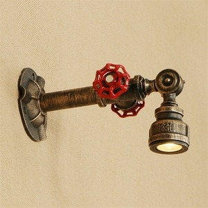 Loft Industrial Wind LED Wall Light Fixtures Vintage Red Valve Iron Water Pipe Wall Lamp Bedside Sconce Lighting Lampara Pared