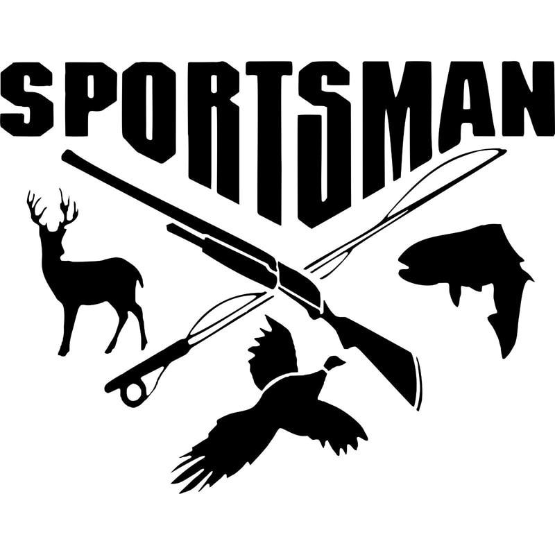 17.8CM*14CM Sportsman Hunting Fishing Deer Fish Gun Car Stickers Decals Decor Decoration Auto Accessories C8-0738