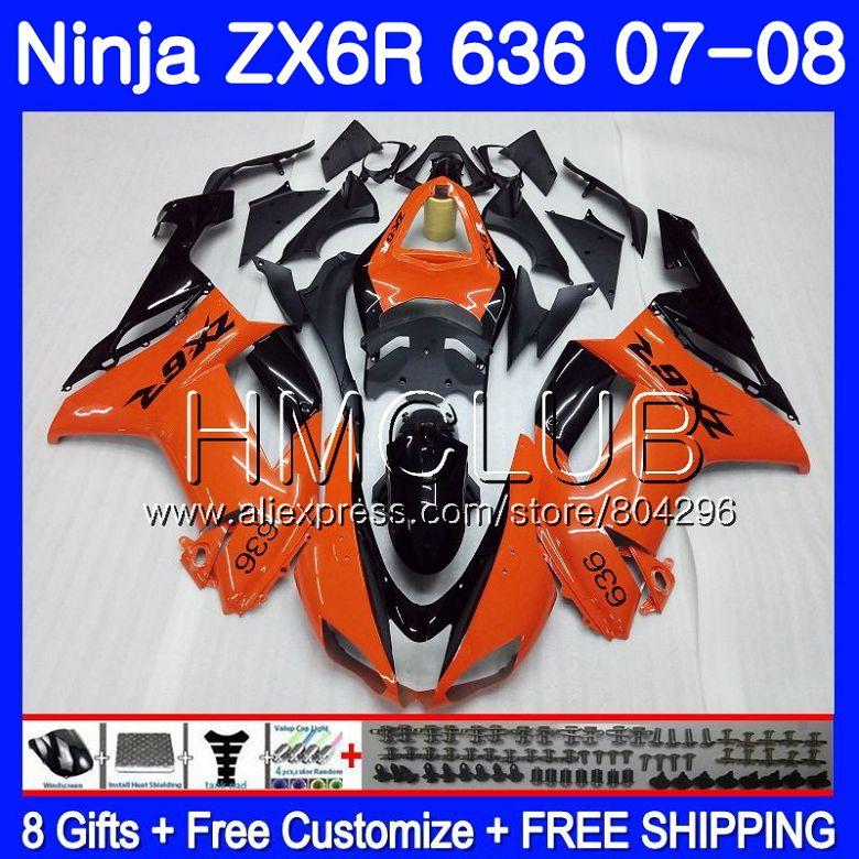 Orange black Body For KAWASAKI NINJA ZX 6R 6 R 600CC ZX-636 ZX636 07 08 16HM.25 ZX600 ZX6R 07 08 ZX 636 ZX-6R 2007 2008 Fairing