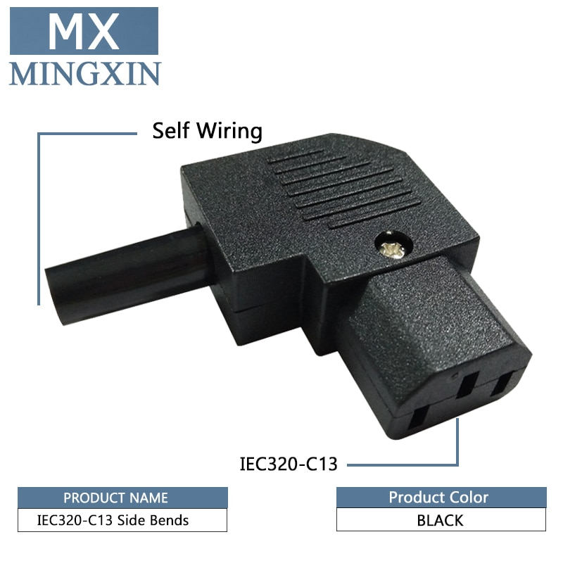 C13 Links Winkel IEC Kabelmontage Horizontale Stecker 125 V-250 V C13 90 Grad Stecker