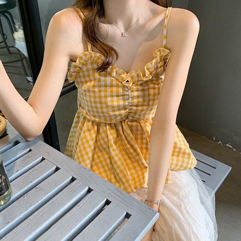 Moda mujer Boho playa verano Crop blusa elegante Bowknot checkerboard chaleco blusa sin mangas playa tunique debardeur femme