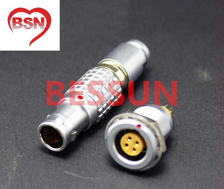 Connecteur LEMO FGG/EGG.1B. 304. plaqué, connecteur LEMO 1B 4 broches, connecteurs mâles et femelles, connecteur spécial instrument