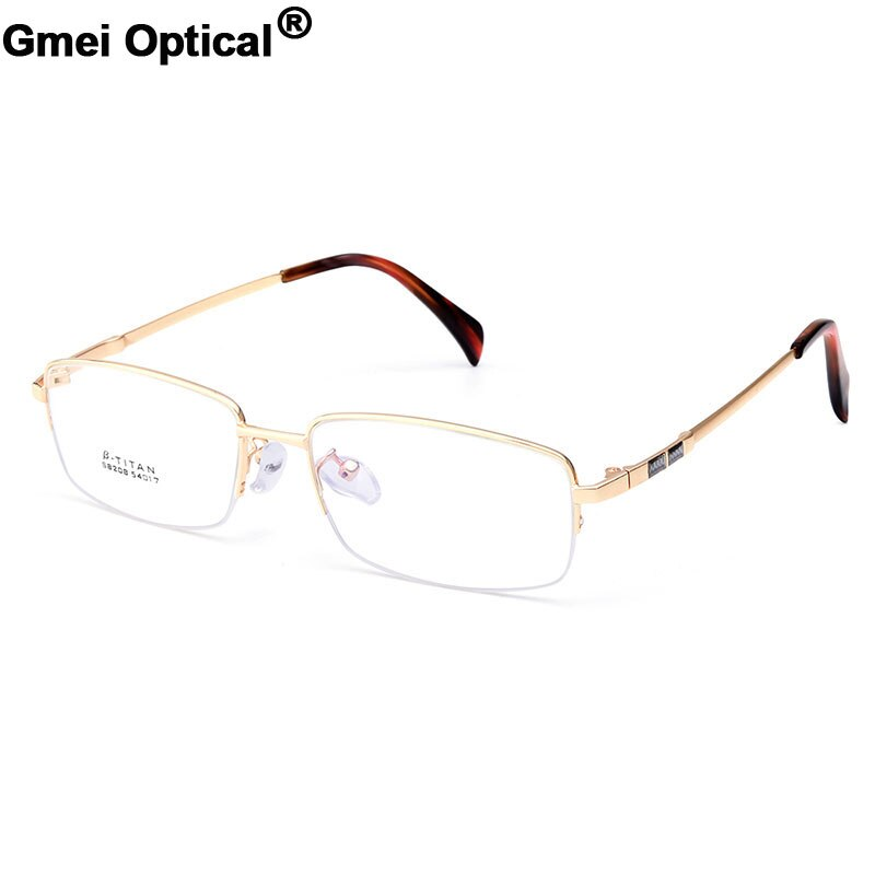 Gmei Optical S8208 Alloy Metal Semi-Rimless Eyeglasses Frame for Men Prescription Optical Eyewear Glasses