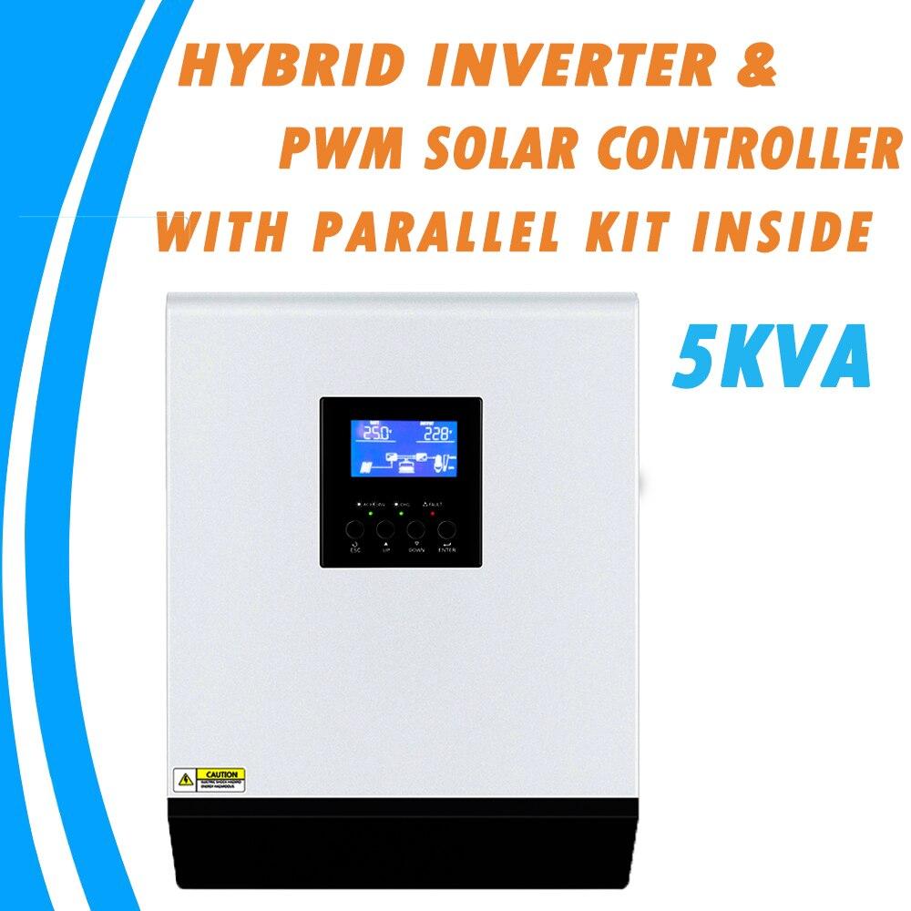 Inversor Solar híbrido de onda sinusoidal pura 5KVA 48V 220V controlador de carga incorporado 50A PWM y cargador de CA con Kit paralelo en el interior