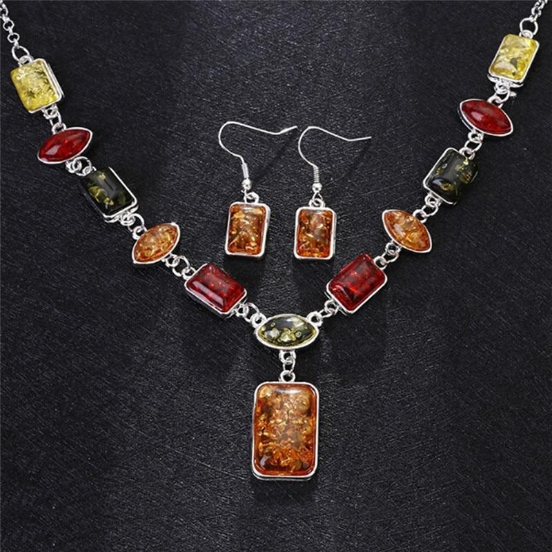 Necklace Earring Imitation Jewelry Set Earring Necklace African Necklace Jewellery Set Multicolor