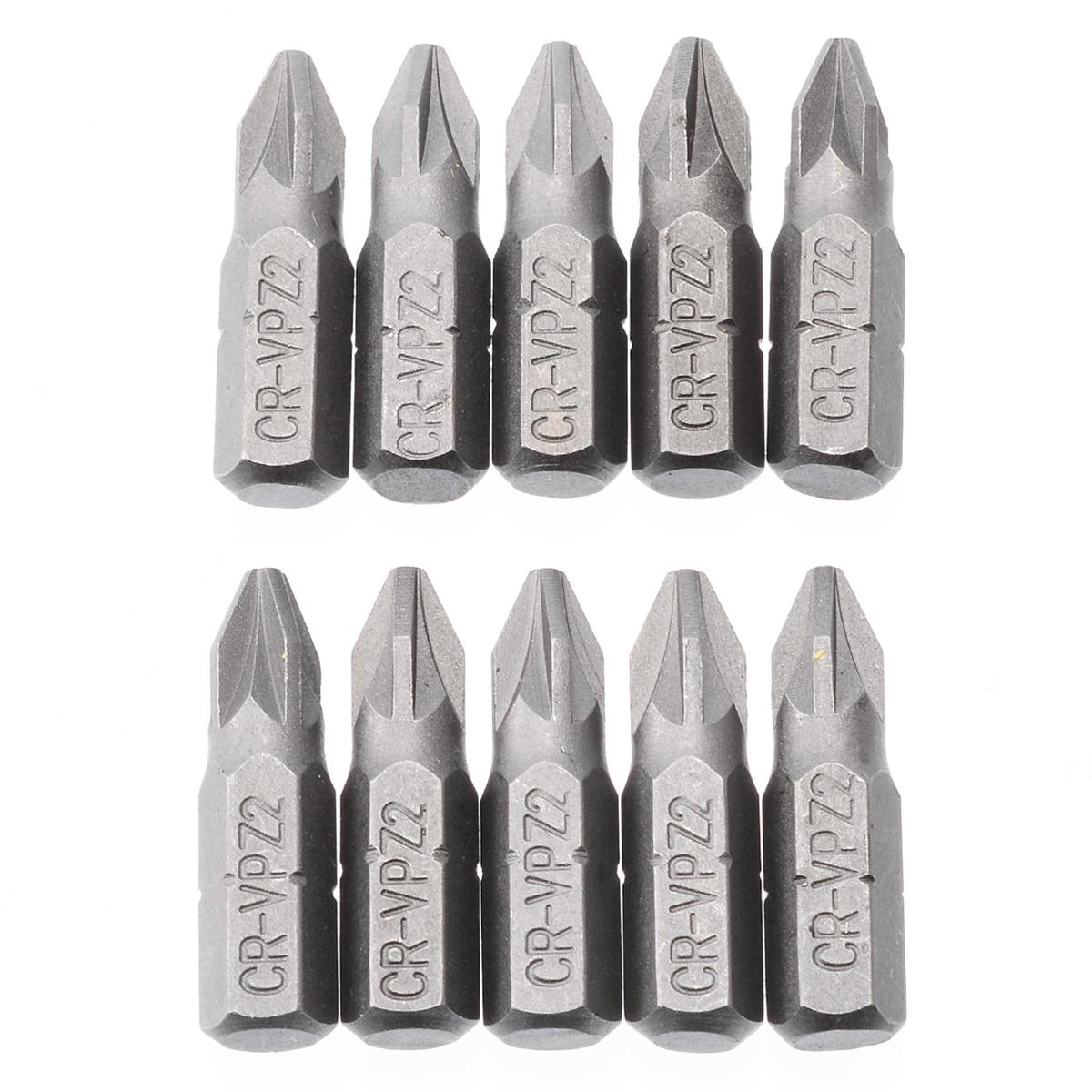 10 Uds Pozi 2 PZ2 puntas de destornillador hexagonal plata conducir destornillador de 25mm para Accesorios de herramientas eléctricas