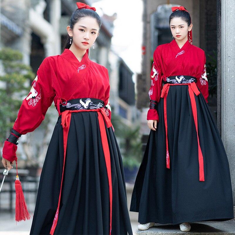 Os alunos antigos Hanfu fêmea de fadas elegante melhorar elementos de estilo Chinês estilo de artes marciais traje performance de palco trajes