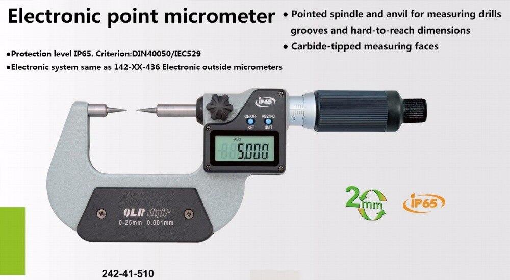 Micrómetro de punto electrónica de medida IP65 impermeable rápido 0-25mm 25-50mm tipo A digital