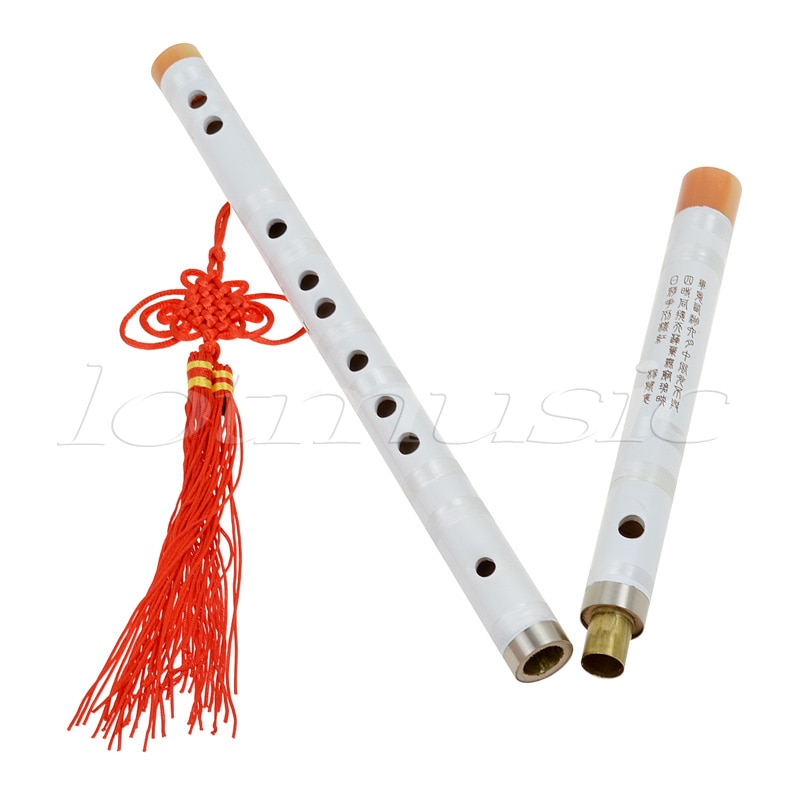 Kmise White Paint Traditional Chinese Bamboo Flute Dizi Pluggable F Key Musical Instrument enlarge