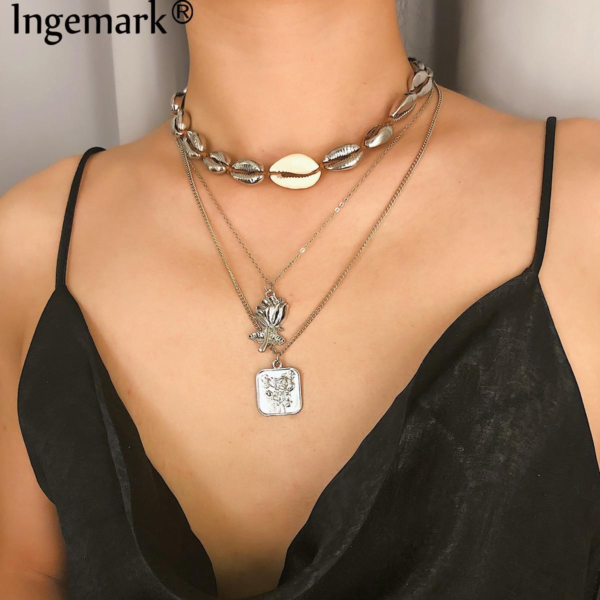 Ingemark Bohemian Beach Shell Choker Necklace Gifts Sweet Ocean Sea Beach Carve Coin Flower Pendant Long Necklace Boho Jewelry