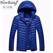 NewBang blouson dhiver en duvet pour homme, Portable, léger et chaud avec capuche en plumes, 8XL, 9XL et 10XL