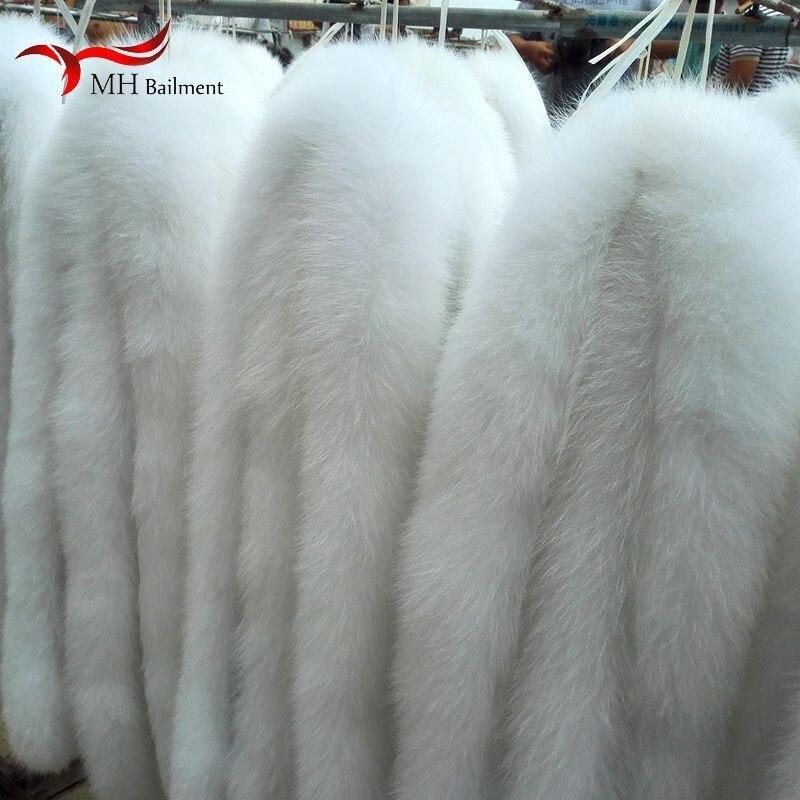 Gorro con cuello de piel de zorro, chaqueta de plumas blancas, suéter de piel de zorro real, ropa de invierno, gorro, cuello para hombres y mujeres, chal bufanda cálida