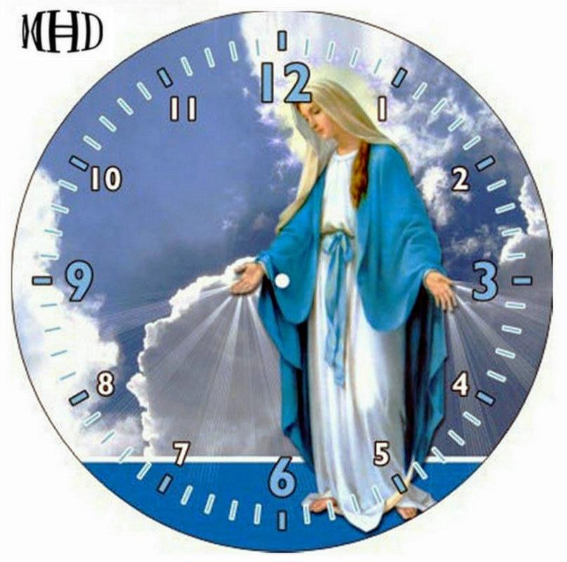 MHD-needlework, full, 3d diy, diamond wall clock, religious icons, lady, diamond embroidery, circle & square, diamond cross stit