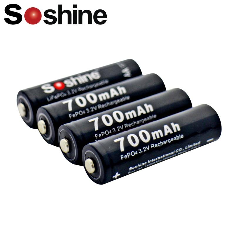 4x original soshine lifepo4 3.2 v 14500 aa 700 mah bateria recarregável + caso