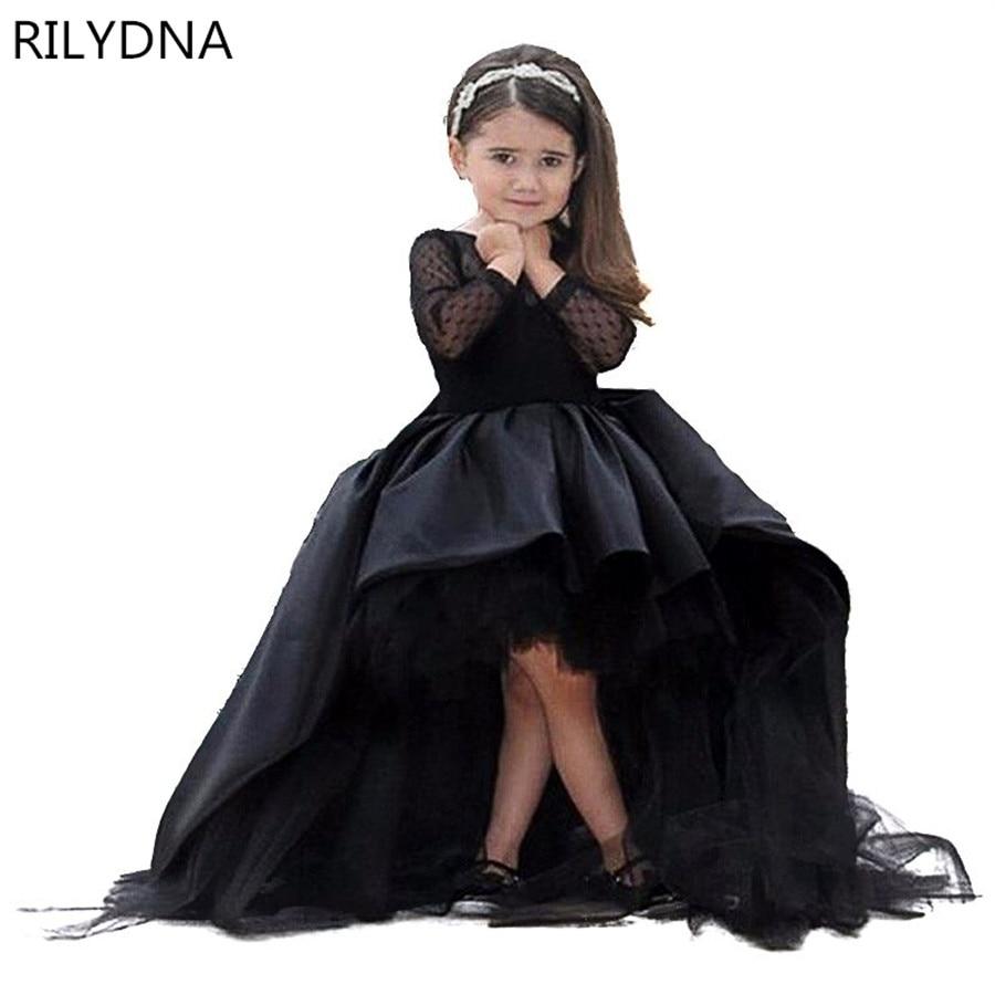 Vestidos de niña de flores negras de manga larga de satén de tul vestido de fiesta para niños vestidos de fiesta de boda