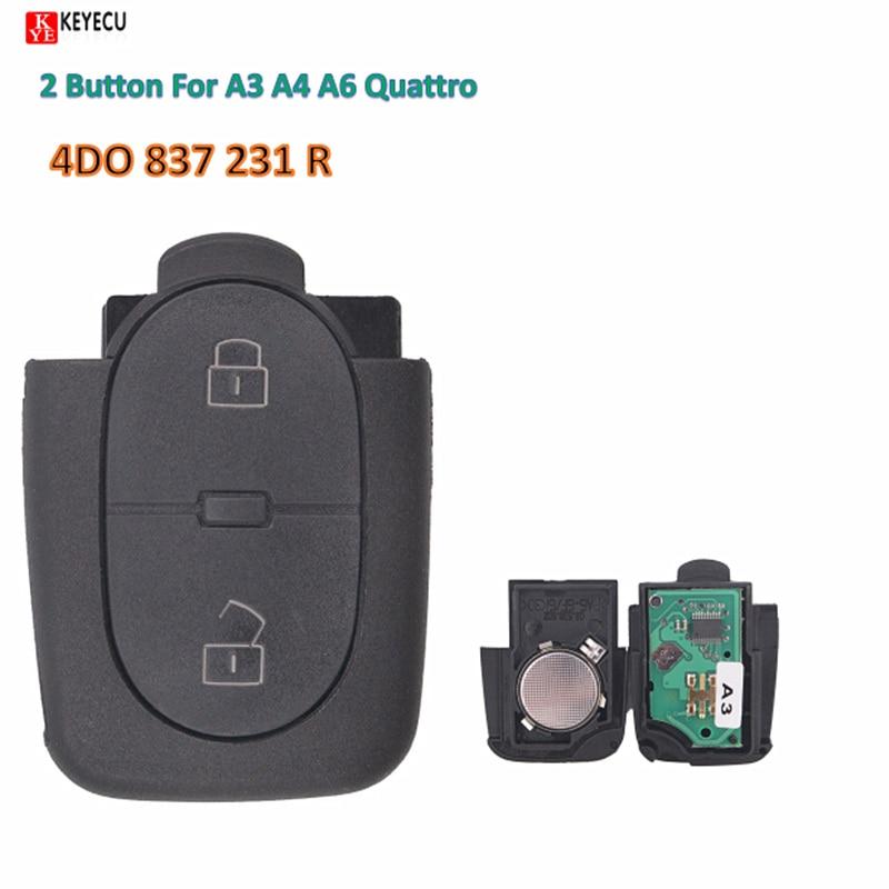 Chave keyless da entrada fob 2 botão de controle remoto substituição keyecu 433.92 mhz 4d0 837 231 r para audi a3 a4 a6 quattro