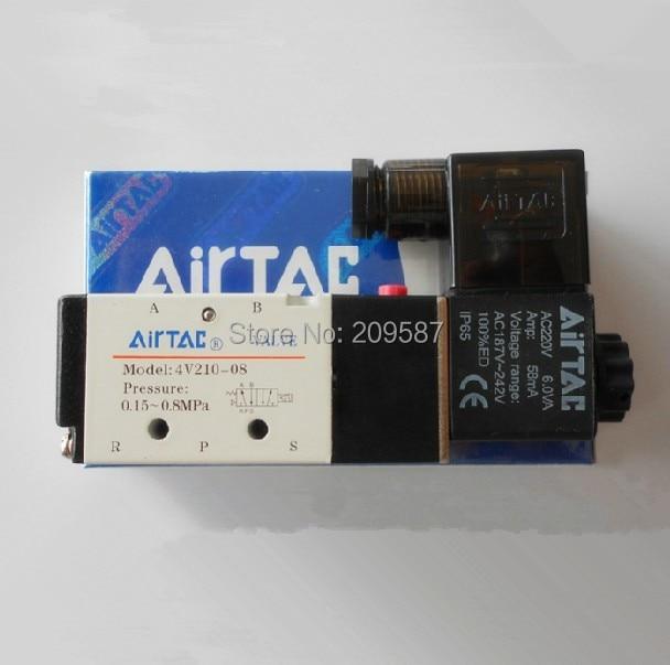 "1x 4V210-08 5Ports2Position Single Solenoid Pneumatic Air Valve 1/4"" BSPT AC220V"