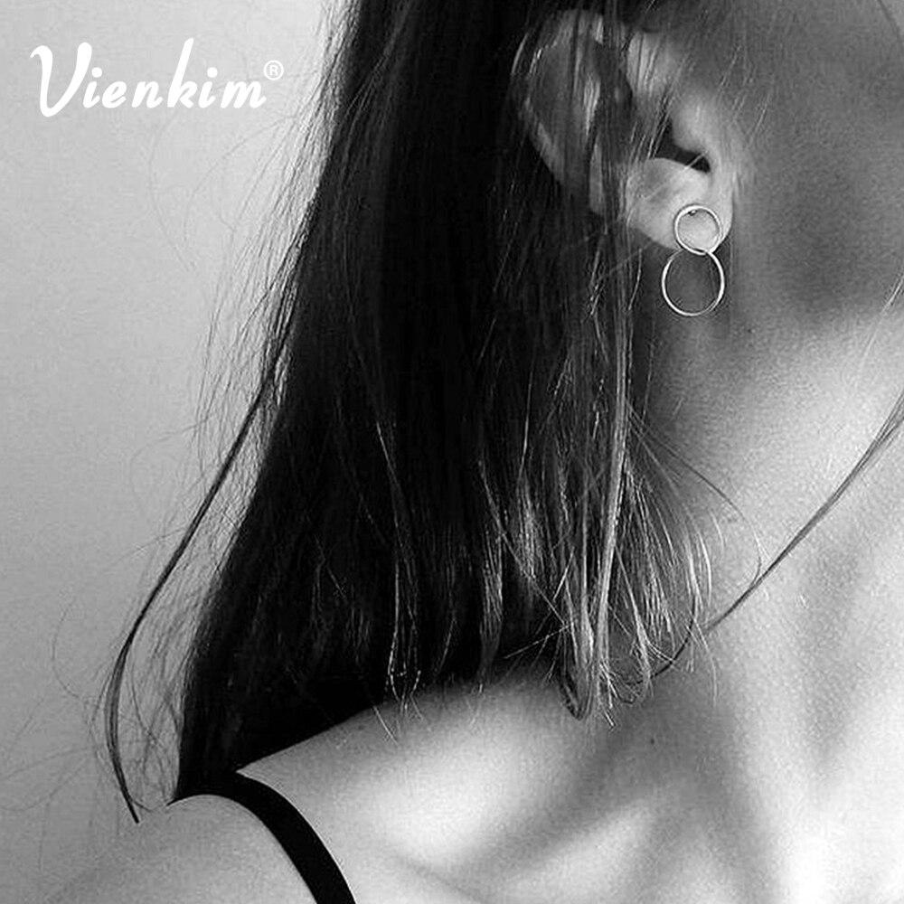 Vienkim 1 par geométrico círculo redondo brincos para as mulheres de metal ouro slver cor earing meninas pingente jóias presente