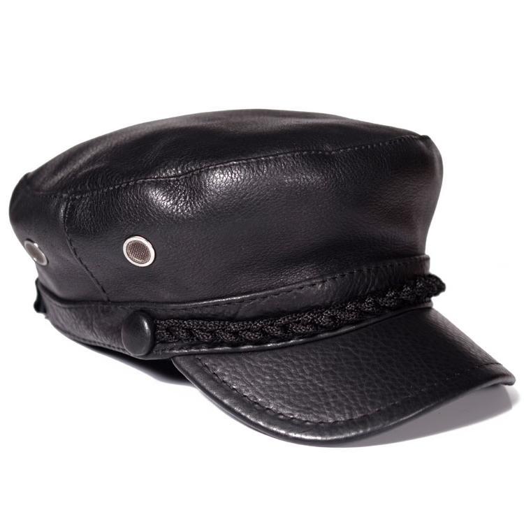 قبعة من الجلد الطبيعي عالي الجودة للطلاب ، قبعة شتوية دافئة من جلد البقر الأصلي