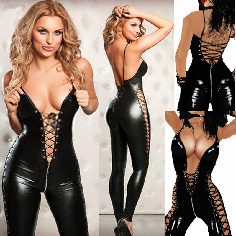 New Sexy Lingerie Hot Women Prisoners Pu Leather Teddy Sex Babydoll Erotic Lenceria Club Mini Dress Costumes Lingerie Plus Size