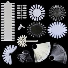 Outils de présentation pour les faux ongles, conseils de faux ongles avec carte de couleur, anneau à boucle blanche transparente, outil de manucure