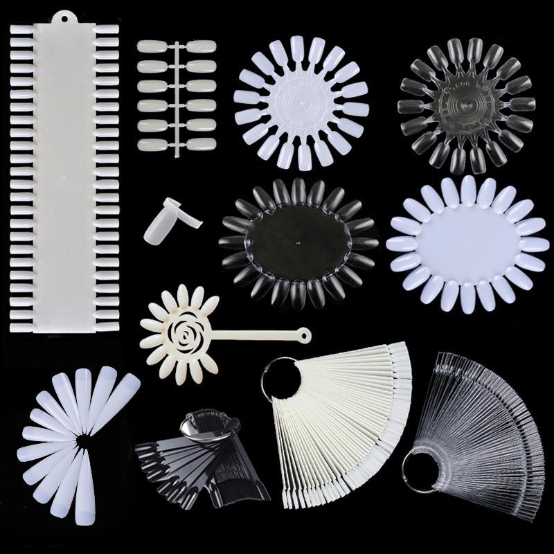 Uñas falsas consejos tarjeta de Color práctica utensilios para muestras transparente Hebilla blanca anillo uñas arte herramienta