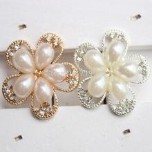 Nishine 5 pièces/lot boutons décoratifs en métal cristal perle fleur Center alliage plat dos strass boutons bricolage artisanat fournitures