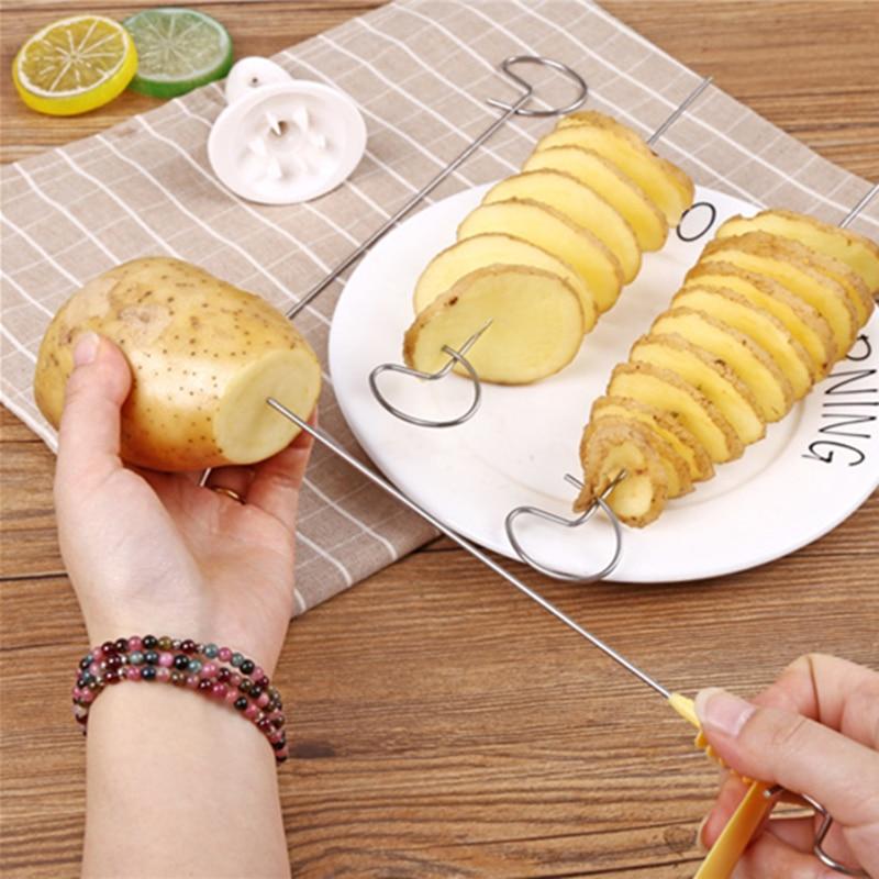 1Set Potato Spiral Cutter Cucumber Slicer Kitchen Accessories Vegetable Spiralizer Spiral Potato Cut