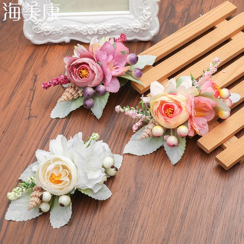 Haimeikang de moda novia flor Floral peines de pelo de dama de honor de tela Floral conchas accesorios para el cabello de novia boda Headpie