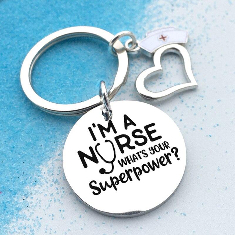 Eu sou uma enfermeira pingente chaveiro hospital enfermeira dia chaveiro presente feminino saco charme chaveiro titular jóias