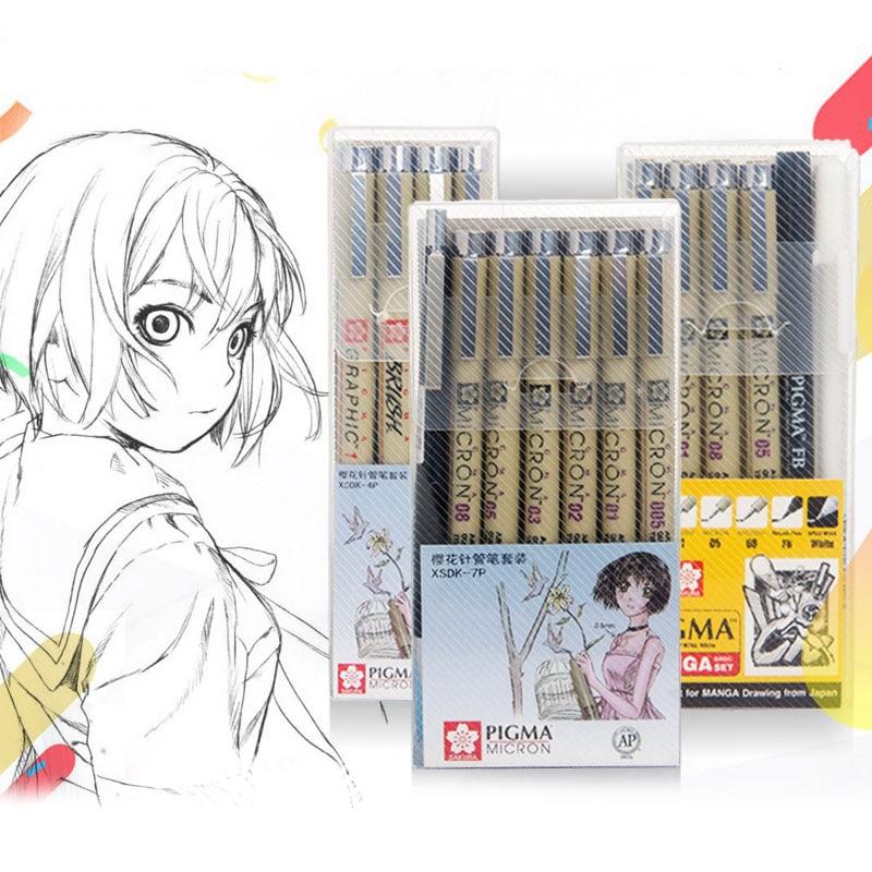Markers Set Pigma Micron Pen Soft Brush Drawing Painting Waterproof Pen 005 01 02 03 04 05 08 1.0 2.0 3.0 Brush Art Markers