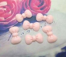 50Pcs Resin Light Pink Bowknot Crafts Flatback Cabochon Scrapbooking Decorations Fit Hair Clips Embellishments Beads Diy