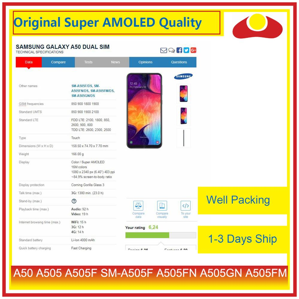 Original For Samsung Galaxy A50 A505 A505F SM-A505F LCD Display With Touch Screen Digitizer Panel Pantalla Complete enlarge