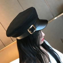 Donne Nero Militare Cappelli Autunno Inverno di Modo di Lana di Cuoio Dell'unità di elaborazione Patchwork Cappellini Newsboy Con La Cinghia Femminile Gorras