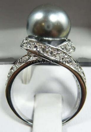 Venta> Joyería plata cristal gris perla tamaño del anillo 7.8.9> Envío Gratis