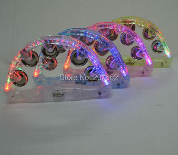 Envío Gratis, 60 unids/lote, 22*13cm, campana led de plástico, luz intermitente, pandereta de juguete para fiesta de Festival