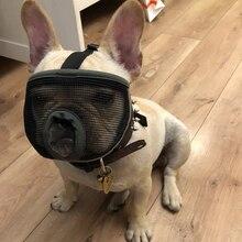 Anti Bark Bite Chew Pug French Bulldog Muzzles Mesh Breathable Short-nose Adjustable Pet Dog Muzzle Mask