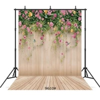 flowers wooden floor wall vinyl photographic background customized for wedding children baby shower backdrops photo booth studio