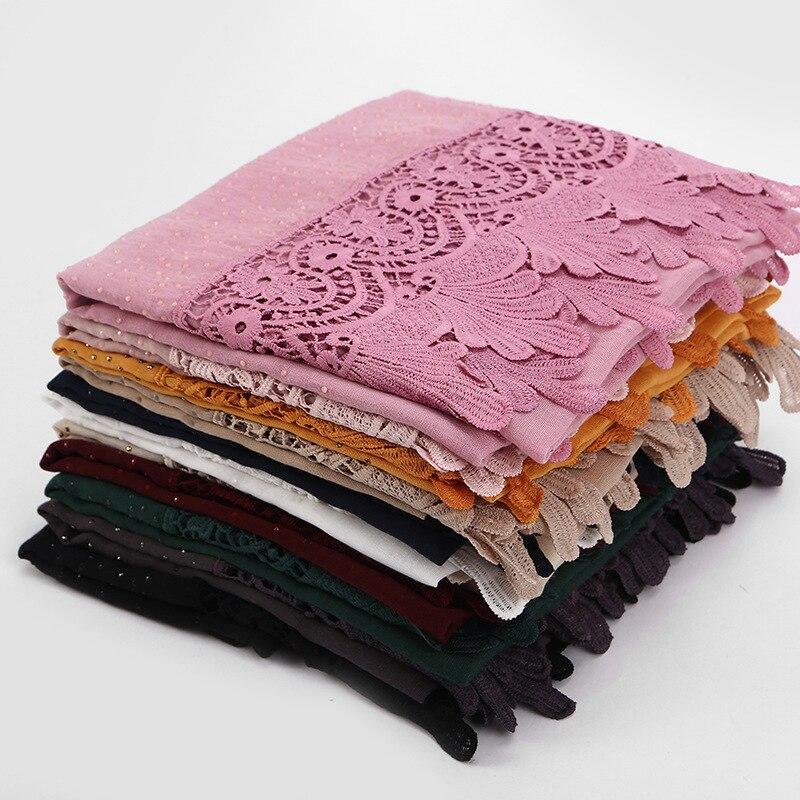 Monochrome Full Cotton Coattail Lace Point Drill Muslim Scarf Shawl Hijab Turban Femme Turbante